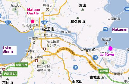 The Iu River in relation to the rest of Matsue