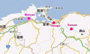 Map of Yonago and Daisen in relation to Matsue