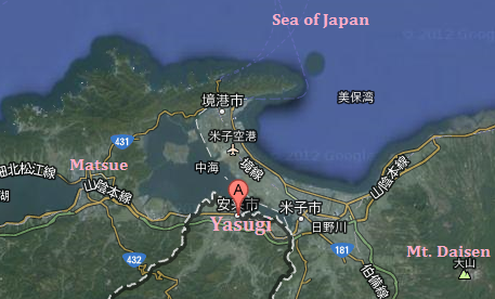 Yasugi in relation to Matsue
