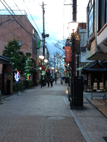 Matsue's charming Kyomise shopping district, southeast of the castle. Snapped this shot right before sundown after leaving a tea ceremony lesson.